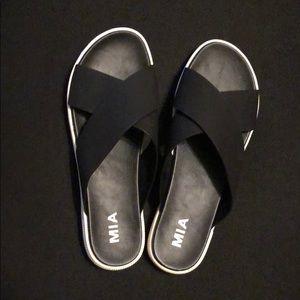 Black slip-on MIA sandals